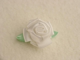 White Satin Ribbon Rosette Flower Applique #AP-278
