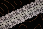 "2 1/4"" Stone Blue Floral Ruffled Lace Trim #lace-45"