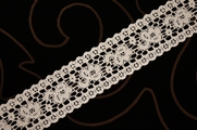 "1 1/2"" Light Beige Vintage Floral Lace Trim"