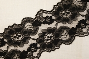 "3 1/2"" Black Floral Lace Trim #lace-105"