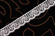 "1 1/8"" White Silver Metallic Lace Trim #lace-501"