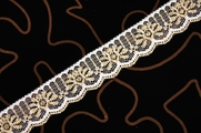 "1 1/8"" White Gold Metallic Lace Trim #lace-502"