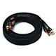 10ft 18AWG CL2 Premium 5-RCA Component Video/Audio Coaxial Cable (RG-6/U) - Black