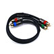 1.5ft 18AWG CL2 Premium 3-RCA Component Video Coaxial Cable (RG-6/U) - Black