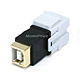 Keystone Jack - USB 2.0 B Female to B Female Coupler Adapter, Flush Type (White)