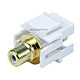 Keystone Jack - Modular RCA w/White Center, Flush Type (White)
