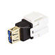 Keystone Jack - USB 3.0 A Female to A Female Coupler Adapter, Flush Type (White)