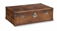 Whiskey Leather Trunk on Casters