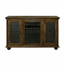 Discoveries Woven Leather Door TV Stand