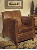 American Made Distressed Leather Club Chair
