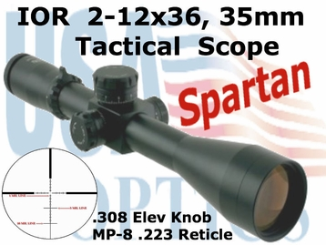 IOR Valdada 2-12x36 Compact Tactical Scope; 35mm Tube and Side Focus!!
