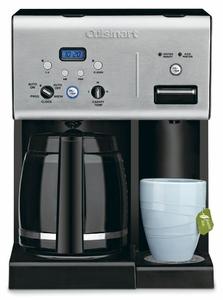 CHW12 Cuisinart Coffee Plus 12-Cup Programmable Coffeemaker with Hot Water System, Black/Stainless