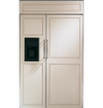 "ZISB480DX GE Monogram Energy Star 48"" Built-In Side-by-Side Refrigerator with Black Dispenser - Custom Panel"