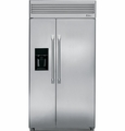"ZISP420DXSS GE Monogram Energy Star Professional Built-in 42"" Side-by-Side Refrigerator with Dispenser - Stainless Steel"