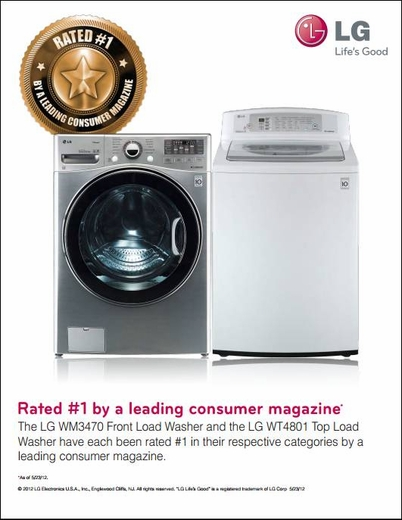 WM3470HWA LG 4.0 Cu. Ft. Large Capacity Front Load Washer with Dual LED Display - White