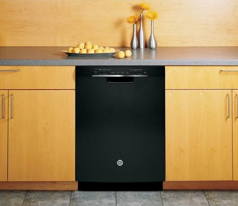 GDF540HGDBB GE Hybrid Stainless Steel Interior Dishwasher with Front Controls - Black