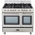 "VEFSGG365DSS Verona 36"" Double Oven Gas Range with 4"" Backguard - Stainless Steel"