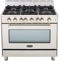 "VEFSGG365SS Verona 36"" Single Oven Gas Range with 4"" Backguard - Stainless Steel"