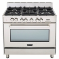 "VEFSGE365SS Verona 36"" Single Oven Dual Fuel Range with 4"" Backguard - Stainless Steel"