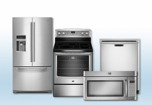 Package 28 - Maytag Builder's Special Package - 4 Piece Appliance Package - Stainless Steel - Electric