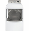 GTDS820EDWS GE 7.8 cu. ft. Capacity Electric Dryer with Stainless Steel Drum and Steam - White on White with Silver Backsplash