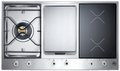 "PM361IGX Bertazzoni Built-in Designer Series 36"" Segmented Gas Cooktop - 1 Burner - 2 Induction with Griddle - Stainless Steel"