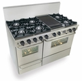 "TTN525-7BW Five Star 48"" Pro Style Dual Fuel Self-Cleaning Convection Range with Open Burners - Natural Gas - Stainless Steel"