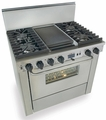 "TTN325-7BW Five Star 36"" Pro Style Dual-Fuel Self-Cleaning Convection Range with Open Burners - Natural Gas - Stainless Steel"
