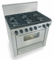"TTN311-7BW Five Star 36"" Pro Style Natural Gas Range with Six Sealed Burners - Stainless Steel"