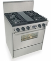 "TTN287-BW Five Star 30"" Pro Style Dual-Fuel Self-Cleaning Convection Range with Sealed Burners - Natural Gas- Stainless Steel"