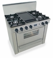 "TTN310-7BW Five Star 36"" Pro Style Natural Gas Range with Open Burners - Stainless Steel"