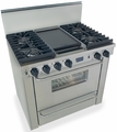 "TTN331-7BW Five Star 36"" Pro Style All Gas Convection Range with Sealed Burners - Natural Gas - Stainless Steel"