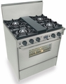 "TTN275-BW Five Star 30"" Pro Style Dual-Fuel Self-Cleaning Convection Range with Open Burners - Natural Gas- Stainless Steel"