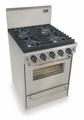 "TTN491-7BW Five Star 24"" Pro Style Natural Gas Convection Range - Sealed Burner - Stainless Steel"