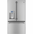 CYE23TSDSS GE Cafe 23.1 Cu. Ft. French Door Ice and Water Counter-Depth Refrigerator with Hot Water Dispenser - Stainless Steel