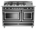 "HER486GGASNE Bertazzoni Heritage 48"" Range with 6 Brass Burners + Griddle and Gas Oven - Black"