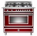 "HER366GASVI Bertazzoni Heritage 36"" Range with 6 Brass Burners and Gas Oven - Wine"
