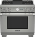 "PRD364JDGU Thermador 36"" Professional Series Pro Grand Commercial Depth Dual Fuel Range - Stainless Steel"