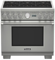 "PRD366JGU Thermador 36"" Professional Series Six Burner Pro Grand Commercial Depth Dual Fuel Range - Stainless Steel"