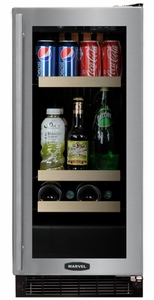 "3BARM-BS-G-R Marvel 15"" Luxury Undercounter Beverage and Wine Refrigerator - Black Cabinet & Stainless Steel Frame Glass Door - Right Hinge"