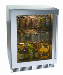 "HP24BS3R Perlick 24"" Signature Series Stainless Beverage Center with Stainless Steel Glass Door - Right Hinge"