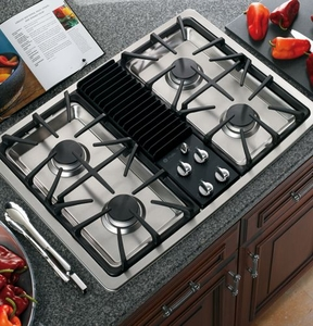 "PGP990SENSS GE Profile 30"" Built-in Downdraft Gas Modular Cooktop - Stainless Steel"