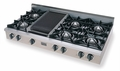 TTN048-7 Five Star 48'' Natural Gas Pro Cooktop with 6 Open Burners & Reversible Grill/Griddle - Stainless Steel
