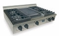 TPN037-7 Five Star 36'' Liquid Propane Pro Cooktop with 4 Sealed Burners & Reversible Grill/Griddle - Stainless Steel