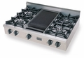 TPN036-7 Five Star 36'' Liquid Propane Pro Cooktop with 4 Open Burners & Reversible Grill/Griddle - Stainless Steel