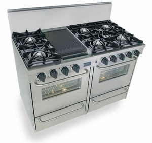 "TTN510-7BW Five Star 48"" Pro Style Gas Range with Open Burners - Natural Gas - Stainless Steel"