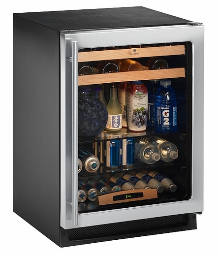 2175BEVCS-00 Uline 2000 Series Undercounter Beverage Center - Field Reversible Door - Black Interior - Stainless Steel