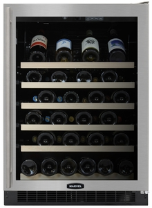 "61WCM-BS-G-R Marvel 24"" Luxury Undercounter 45 Bottle Wine Cellar - Black Cabinet & Stainless Steel Frame Glass Door - Right Hinge"