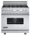 "VDSC536T-6B Viking Professional Series 36"" Custom Sealed Burner Dual Fuel Electronic Control Range with 6 Burners - Stainless Steel"