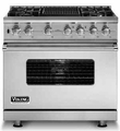 "VDSC536-4G Viking 36"" Sealed Burner Dual Fuel Range with 4 Burners and Griddle - Stainless Steel"